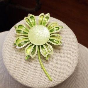 Vtg. Green Enamel Flower Brooch